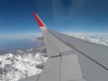 左翼飞机蓝天 库存图片