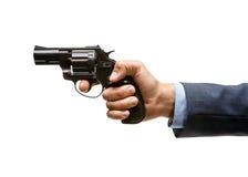 左轮手枪在手中 库存图片