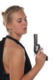 左轮手枪妇女 免版税图库摄影