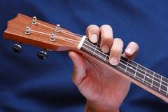 左音乐家手夹紧在尤克里里琴,侧视图的弦 免版税库存照片