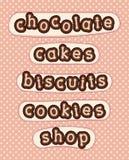 巧克力、蛋糕、饼干、曲奇饼和商店 免版税库存照片
