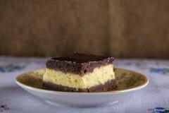 巧克力乳酪蛋糕果仁巧克力片断  免版税库存照片