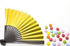 巧克力五颜六色的风扇 免版税库存照片
