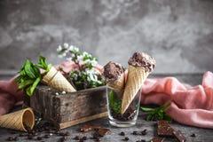 巧克力冰淇凌和春天花 免版税库存照片