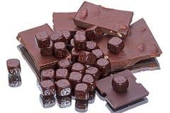 巧克力切片和立方体  库存图片