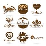 巧克力和咖啡象设计-贴纸 库存照片