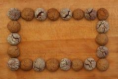 巧克力和榛子曲奇饼框架,拷贝空间 库存照片