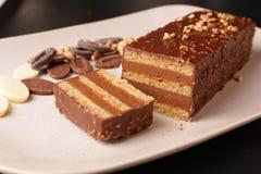 巧克力和榛子绉纱蛋糕 库存照片