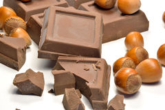 巧克力和榛子 图库摄影