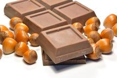 巧克力和榛子 库存照片