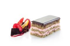巧克力和草莓个体饼 免版税库存图片