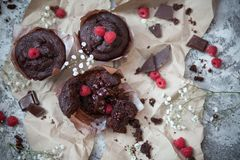 巧克力和莓果 免版税库存照片