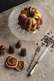 巧克力和香草大理石花纹蛋糕 免版税库存图片