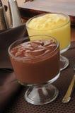 巧克力和香草布丁 免版税库存照片