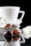 巧克力咖啡下落 免版税库存图片