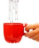 巧克力咖啡杯滴下热 免版税库存照片