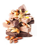 巧克力品种。在白色背景隔绝的片断。关闭 免版税库存照片