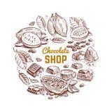 巧克力商店传染媒介象征设计用速写的可可子和巧克力块 库存例证