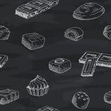 巧克力图表黑板无缝的样式剪影例证传染媒介 库存图片