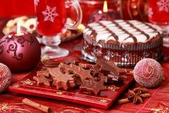 巧克力圣诞节甜点 库存图片