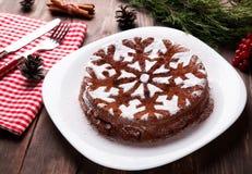 巧克力圣诞节蛋糕 免版税库存图片