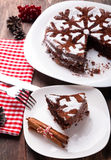 巧克力圣诞节蛋糕 免版税库存照片