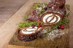 巧克力圣诞柴用蔓越桔 免版税图库摄影