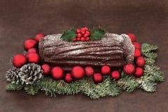 巧克力圣诞柴 免版税库存照片