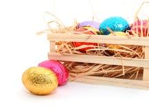 巧克力在白色背景的复活节彩蛋 库存图片