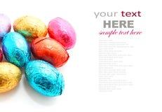 巧克力在白色背景的复活节彩蛋 免版税库存照片