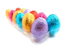 巧克力在盘子的复活节彩蛋 库存图片
