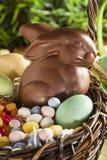 巧克力在篮子的复活节兔子 免版税库存照片