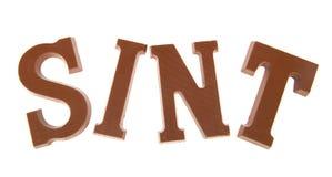 巧克力在sinterklaas上写字 免版税库存照片