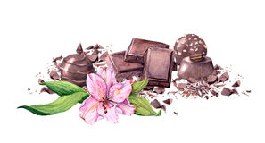 巧克力块、巧克力糖和花 葡萄酒水彩 图库摄影