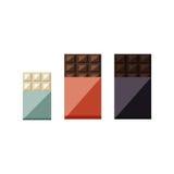 巧克力块的传染媒介例证:白色,牛奶,黑暗 库存图片