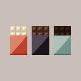 巧克力块的传染媒介例证:白色,牛奶,黑暗 免版税库存照片