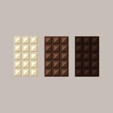 巧克力块的传染媒介例证:白色,牛奶,黑暗 免版税库存图片