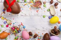 巧克力复活节彩蛋查出的对象 库存图片