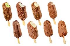 巧克力奶油色果子冰集 免版税库存照片