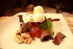 巧克力奶油色点心冰 库存图片