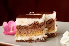 巧克力奶油蛋糕 免版税库存图片