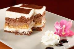 巧克力奶油蛋糕 免版税库存照片
