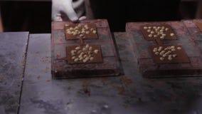 巧克力工厂主人公,做巧克力的过程 倾吐的液体巧克力到形式里,增加坚果和冷却 影视素材