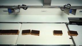 巧克力工厂 巧克力块的生产的传动机 影视素材