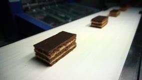 巧克力工厂 巧克力块的生产的传动机 股票视频