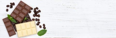 巧克力巧克力块食物甜点横幅copyspace顶视图 免版税图库摄影