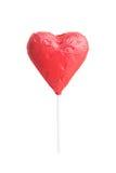 巧克力心脏在白色的糖果孤立与裁减路线 免版税库存照片