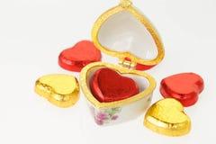 巧克力心脏糖果 免版税库存图片