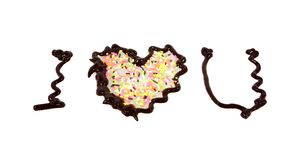巧克力我爱你写的词 库存图片