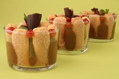 巧克力无核小葡萄干点心奶油甜点 免版税图库摄影